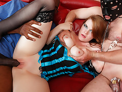 Gimp slave and big black dick for her red head cutie pie.