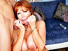 Beautiful Red Hair MILF Enjoying Licking This Huge Hard Cock