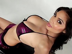 Sexy Tera wearing purple underwear and moves her hot body