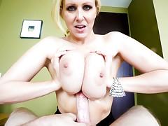 Blonde bitch Julia Ann milks a big dick w/ her huge fun bags