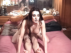 Busty slutty girl poses and gets fucked by an old man