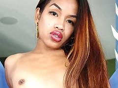 Hot asian tranny enjoys stroking its nice big dick on camera