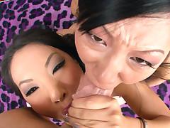Asa Akira and Tia Ling both swallow performer's big cock.