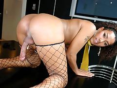Horny cute tranny strokes her dick and fucks her hot dildo!