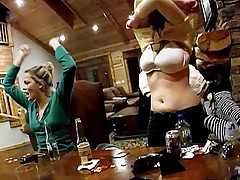 Whole group of hot pornstars playing cards in a log cabin!
