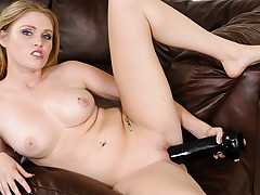 Blond shows you how much she loves giant cocks in her pussy