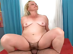 Sexy GILF gets a creampie by younger man after her shower