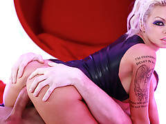 Cute tattooed blonde girl likes to suck a cock until it cums