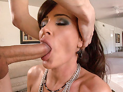 Busty MILF blowing and using face as cum target in POV video