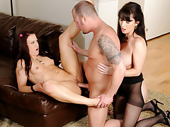 Mother teaching her daughter how to fuck an horny man! (HD)
