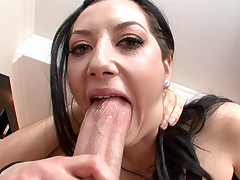 This very slutty girl likes having a huge dick in her throat