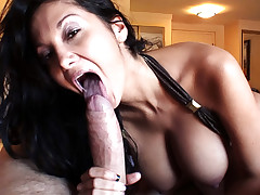 Sexy ass MILF with huge tits sucks you off then gets fucked!