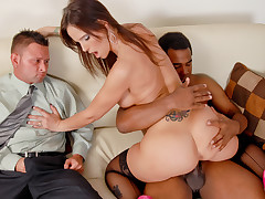 Syren's husband watches as she gets fucked at her meeting