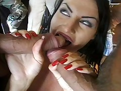 Dark haired babe get fuck hard by five dudes after her dance