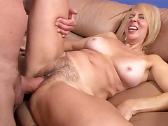 Blonde mama with nice tits & a hairy pussy gets fucked!