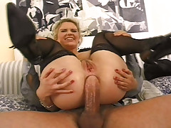 UK blonde with natural tits gets some anal fun!