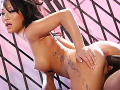 sexy asian slut gets pussy fucked hard by a big black cock!