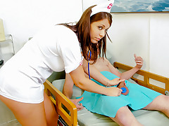 Mad Nurse Beverly Hills Is Taking Care Of Her Client's Cock!