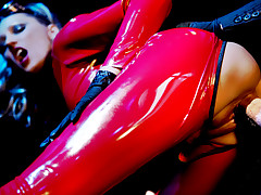 Hot blonde slut gets fucked hard in her poppy red latex suit