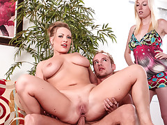 Horny blonde mom gets ass fucked by daughter's boyfriend