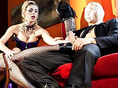 Hot sensual blondes take turns at fucking and sucking hard!