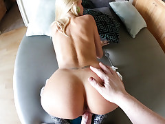 Horny blonde with sexy ass fucks like an animal.