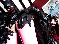 Hot brunette in pink latex gets fucked hard by masked stud!