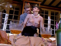 Brunette suck and fuck a cock in a nice living room !