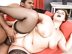 Brunette BBW gets fucked hard by man, who cums in her pussy