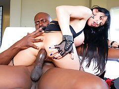 hot brunette milf shows off her huge tits and gets fucked