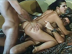 Nasty Brunettes Fucking Hard A Lucky Man On Bed