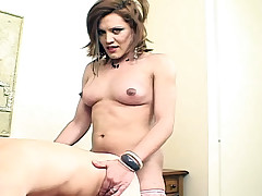 Horny shemale sticking a cock in a guys asshole and fuck him