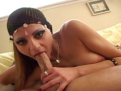 Hindou gets cream pie after getting pounded by a huge engine