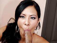 Cute brunette has a taste for swallowing massive man milk!
