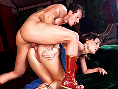 Sexy roman slut gets fucked hard in her ass and wet pussy!