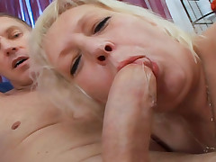 Nasty Old Woman Enjoys Having Young Hard Cock In Her Pussy
