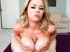 Lucky guy gets dick between Katie Kox's perfect boobs.