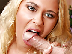 Blonde gal with big natural tits loves to deepthroat a cock