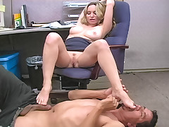 Office slut dominates the janitor and gives him a handjob