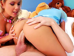 Sexy blondes in baby clothes get their ass royally pounded!
