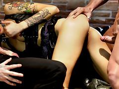 Super hot dark haired tattoed slut gets fucked by hard cocks