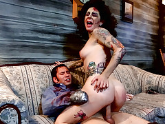 Zombie gal gets her evil pussy fucked with armless guys cock