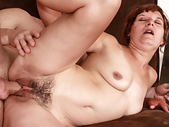 MILFs hairy pussy needs a hard cock pumping her tight hole