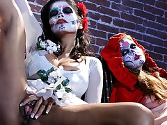 Sexy, busty beauties in mexican make-up touch themselves!