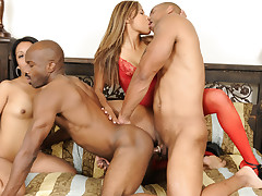 Two Men And Two Women During Awesome Bisexual Sex Moment
