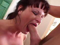 Slut With Huge Boobs Takes A Cock Deep Inside Her Throat
