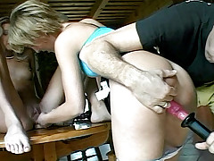 Two blonde sluts takes Rocco's big shaft right up in the ass