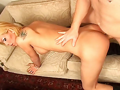 Lovely tranny enjoys beeing penetrated by a hot hard dick!