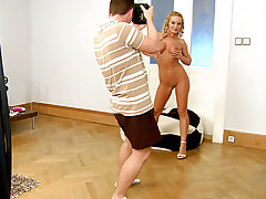 SIlvia Saint poses in many positions for a naughty shooting