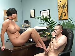 Milf school principal getting a foot fetish in her office